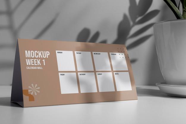 Arrangement of mock-up table calendar indoors