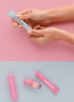 Arrangement of nail care products with mock-up