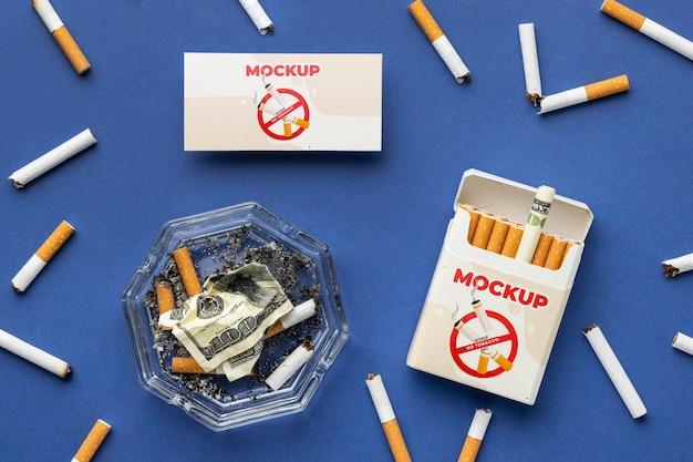Arrangement of no tobacco day mock-up