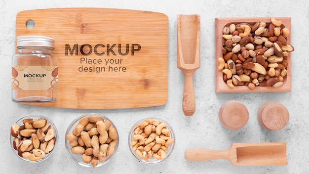Arrangement of nuts with wooden board mock-up