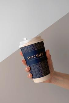 커피 숍 요소 목업 배치