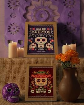 Расположение цветов и дизайнов для дня мертвых макетов вид спереди
