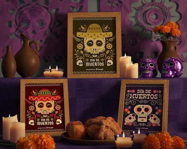 Расположение цветов и дизайнов для дня мертвых макетов