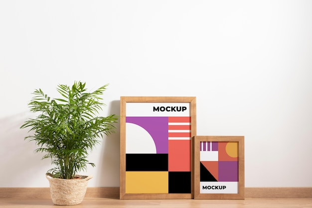 装飾的なモックアップフレームの配置