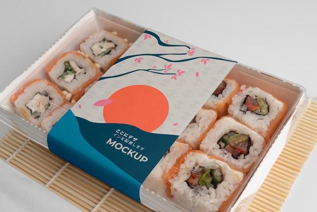 Оформление японского фаст-фуда с макетной упаковкой Бесплатные Psd