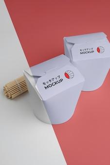 モックアップパッケージで日本のファーストフードのアレンジメント