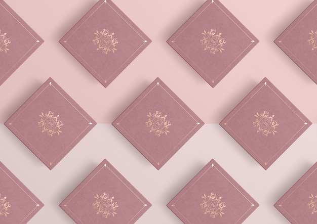 분홍색 보석 선물 상자의 배열