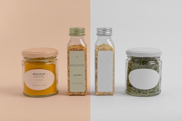 라벨 모형과 향신료의 배열