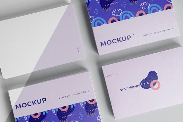 Arrangement of pattern visiting card mock-up