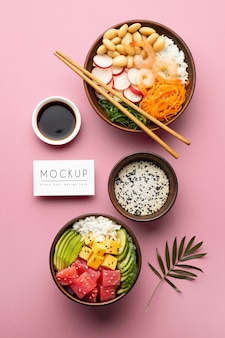 Arrangement of poke bowls with mock-up card