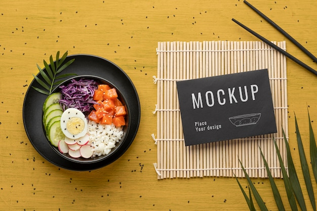Arrangement of poke bowls with mock-up card