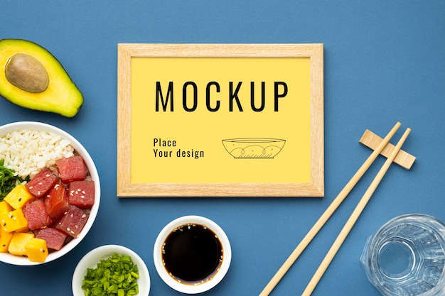 Arrangement of poke bowls with mock-up frame
