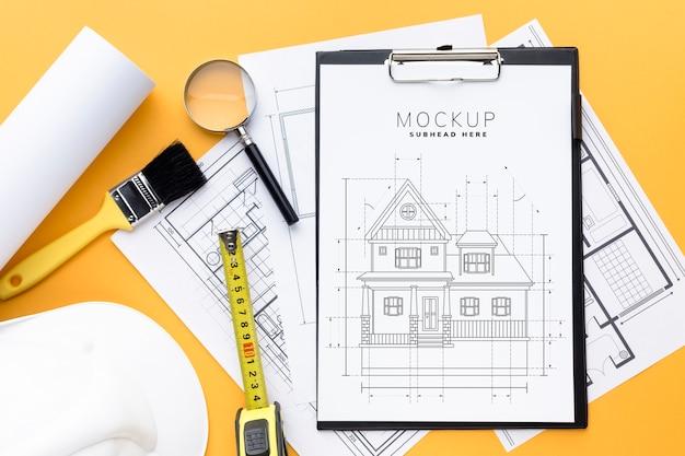 Arrangement of repairing tools with clipboard mock-up