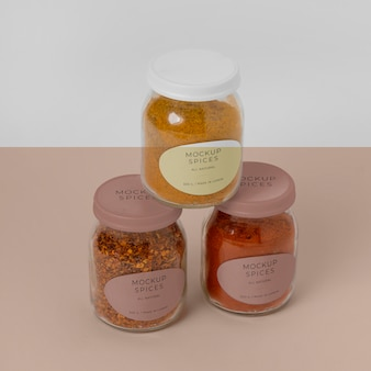 Arrangement of spices with label mock-up