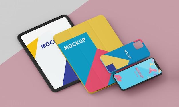 Arrangement of tablet and phone case mock-up