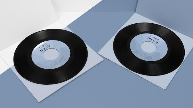 Arrangement of vinyl records mock-up