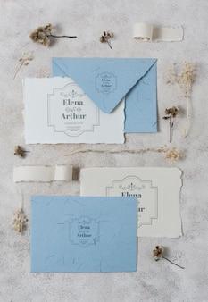 Disposizione delle carte mock-up del matrimonio