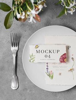 Arrangement of wedding mock-up cards