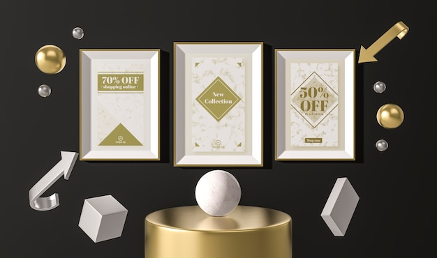 Arrangement of white sale frames and 3d geometrical shapes