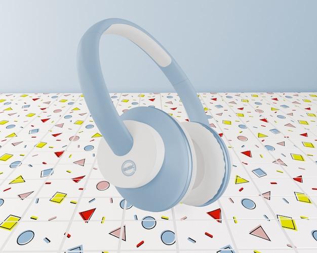 Arrangement with blue earphones