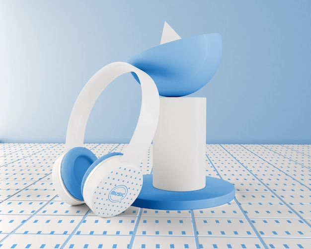 Arrangement with blue and white headphones