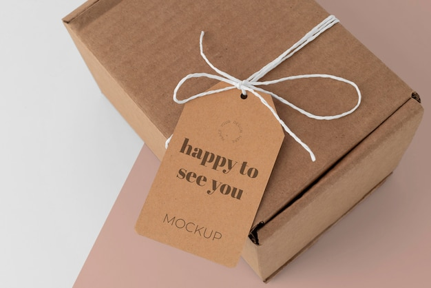 Arrangement with craft box tag mock-up