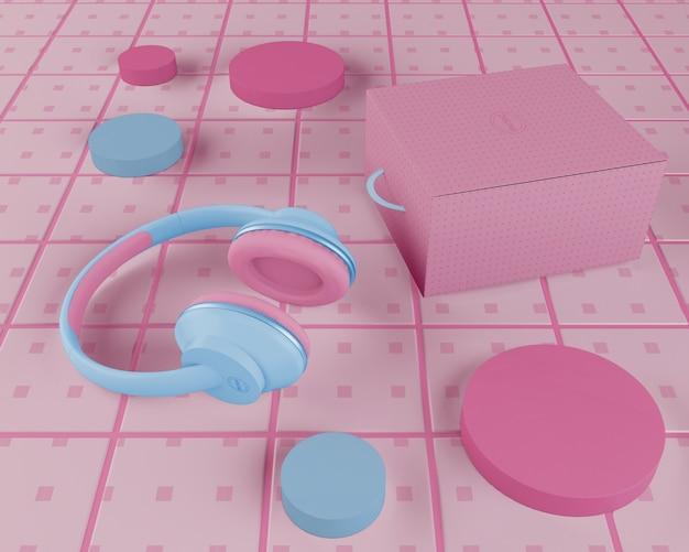Arrangement with headphones and box