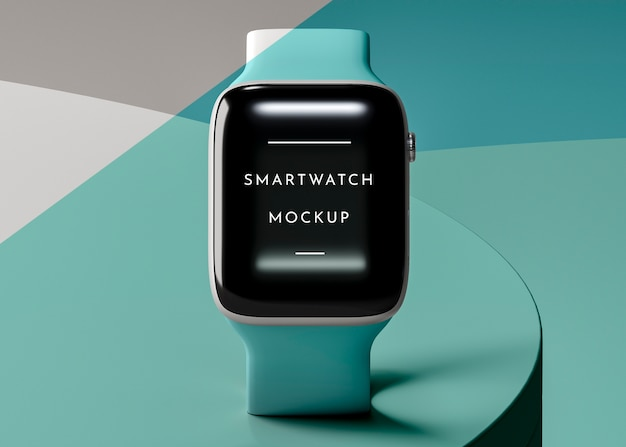 Arrangement with modern smartwatch with screen mock-up