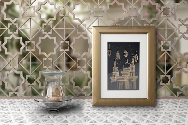 Arrangement with mosque picture in a frame