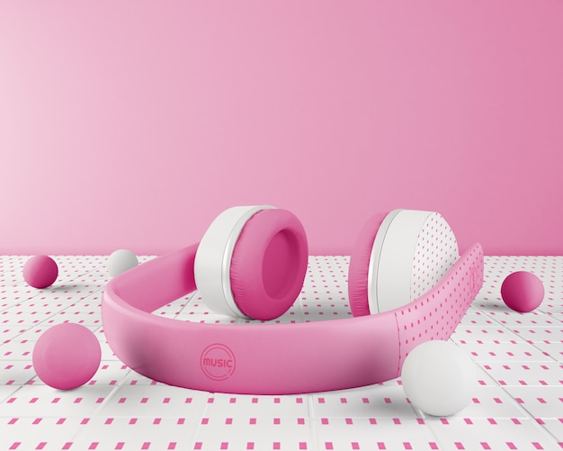 Arrangement with pink and white headset