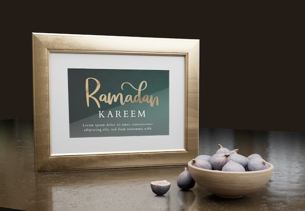 Arrangement with ramadan kareem frame and figs