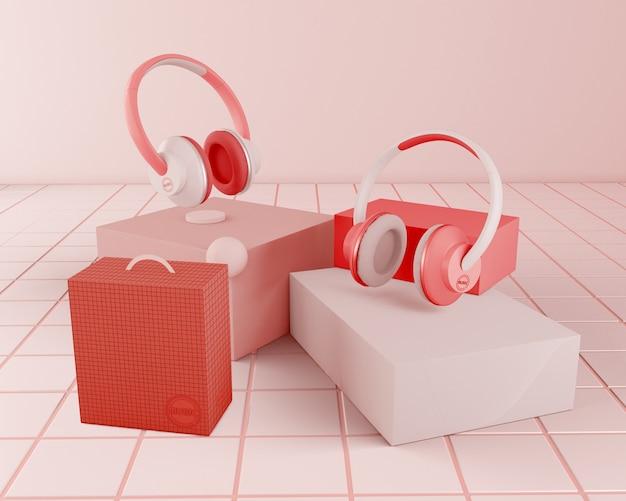 Arrangement with red headphones