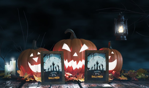 Arrangement with scary pumpkins and framed horror posters