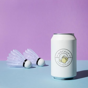 Arrangement with soda can mockup