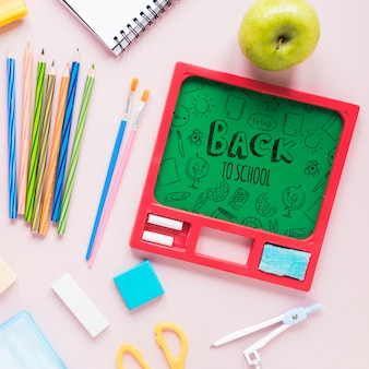 Arrangement with supplies for the beginning of school
