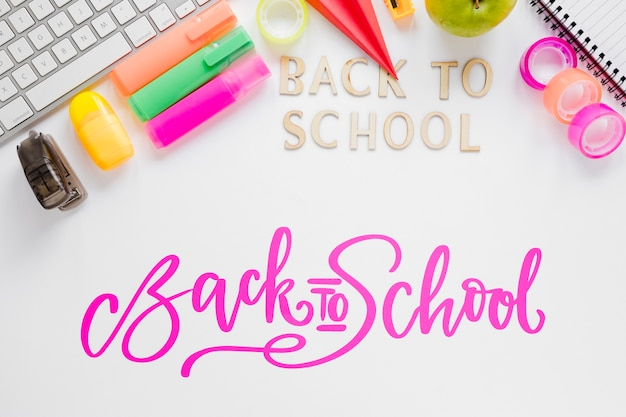 Arrangement with supplies for returning to school