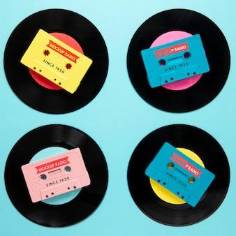 Композиция с макетом виниловых пластинок