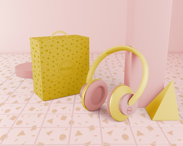 Arrangement with yellow headphones