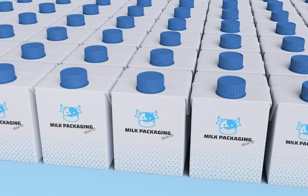 Массив пастеризованного молока ящик 3d рендеринга макет для дизайна продукта