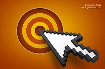 Arrow cursor icon with target  psd