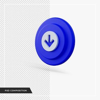 블루 라운드 아이콘 3d 렌더링 아래쪽을 가리키는 화살표