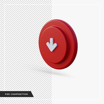 빨간색 아이콘 3d 렌더링 아래쪽을 가리키는 화살표