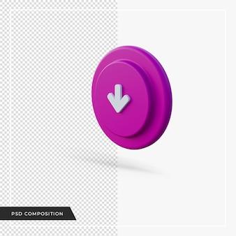 Voilet 아이콘 3d 렌더링 아래쪽을 가리키는 화살표