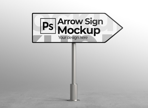 Arrow sign mockup for advertising or branding