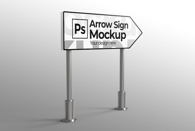Макет знака стрелки для рекламы или брендинга
