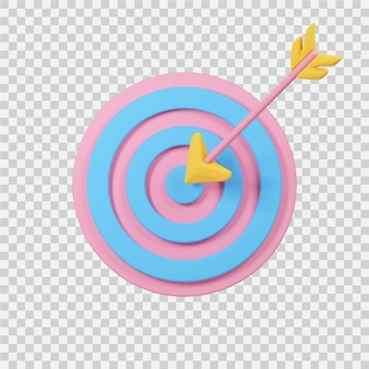 Arrow with target icon isolated on white 3d rendered image