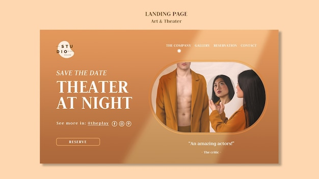 アートと劇場の広告テンプレートのランディングページ