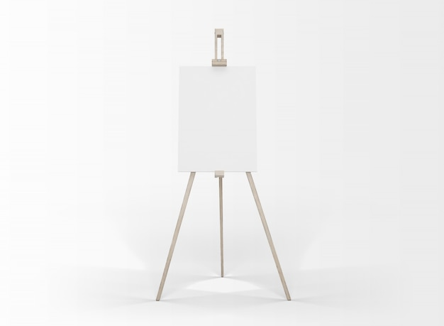 Art canvas in an easel isolated on white