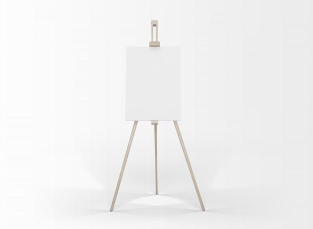 白で隔離されるイーゼルのアートキャンバス