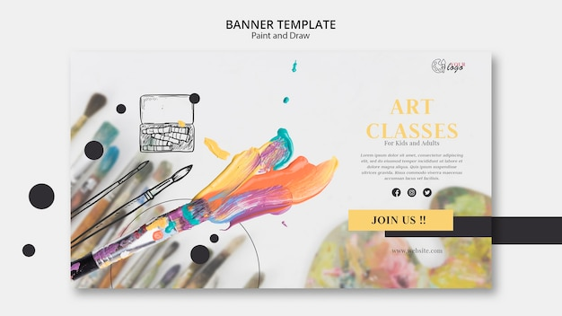 Art classes for kids and adults banner template